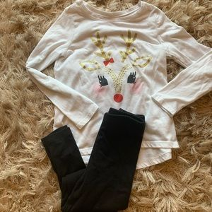 Other - ❇️Girls Leggings and Holiday Long Sleeve T-Shirt